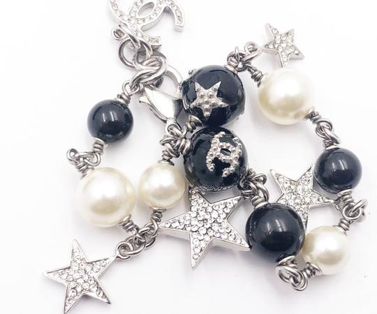 Chanel Chanel Classic Silver CC Mini Pearl Crystal Pearl Lever Back Earrings Image 2