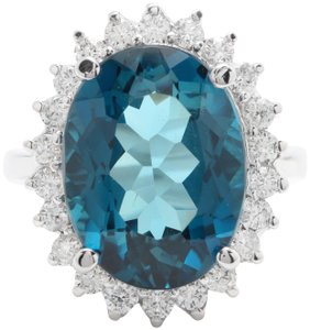 other 6.65 CTW Natural London Blue Topaz & Diamonds in 14K White Gold Ring