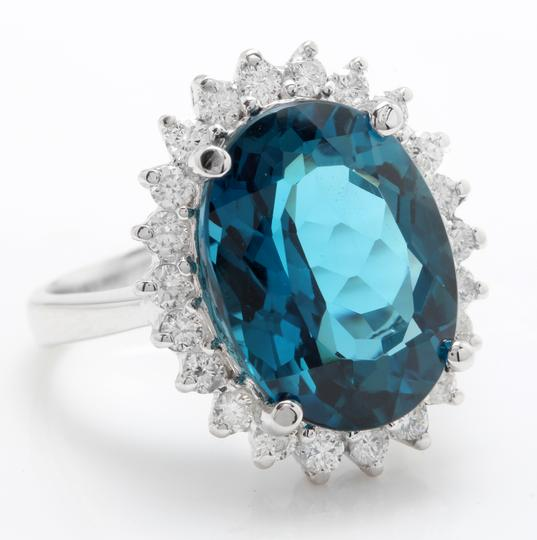 other 6.65 CTW Natural London Blue Topaz & Diamonds in 14K White Gold Ring Image 1