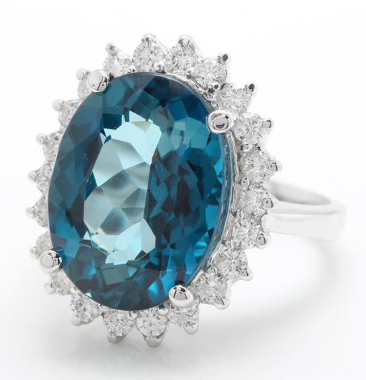 other 6.65 CTW Natural London Blue Topaz & Diamonds in 14K White Gold Ring Image 2