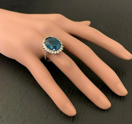 other 6.65 CTW Natural London Blue Topaz & Diamonds in 14K White Gold Ring Image 3