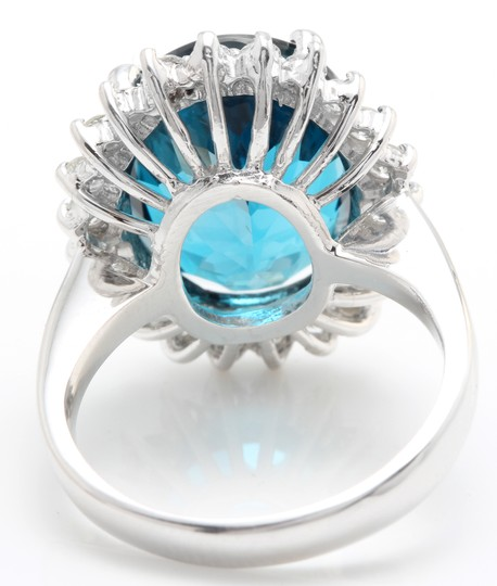 other 6.65 CTW Natural London Blue Topaz & Diamonds in 14K White Gold Ring Image 4