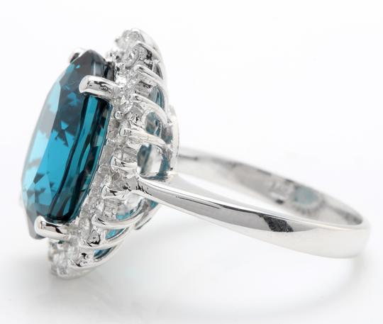 other 6.65 CTW Natural London Blue Topaz & Diamonds in 14K White Gold Ring Image 5