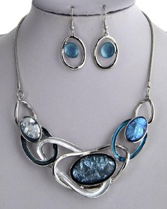UNBRANDED Acrylic Silver Blue Necklace & Earring
