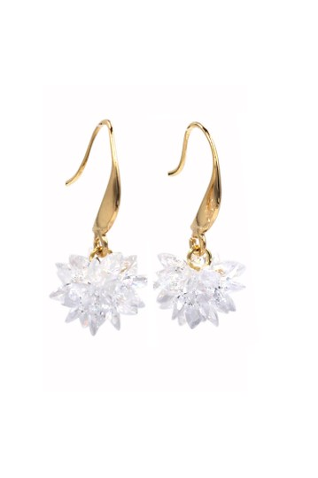 Ocean Fashion Gold sparkling snowflake crystal earrings Image 3