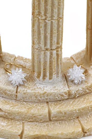 Ocean Fashion Gold sparkling snowflake crystal earrings Image 5