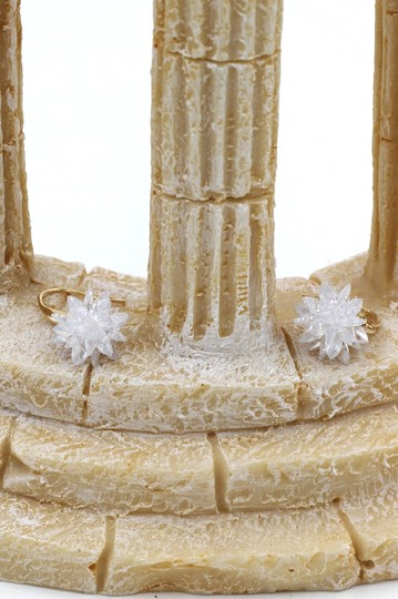 Ocean Fashion Gold sparkling snowflake crystal earrings Image 6