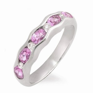 Non Branded 1.37 CT Pink Sapphire & 0.14 CT Diamonds 18K Gold Wedding Band Ring
