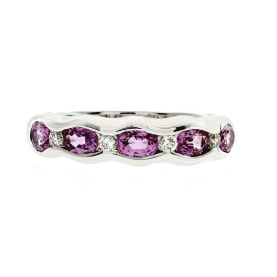 Non Branded 1.37 CT Pink Sapphire & 0.14 CT Diamonds 18K Gold Wedding Band Ring Image 1