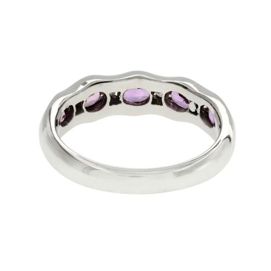 Non Branded 1.37 CT Pink Sapphire & 0.14 CT Diamonds 18K Gold Wedding Band Ring Image 2
