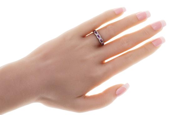 Non Branded 1.37 CT Pink Sapphire & 0.14 CT Diamonds 18K Gold Wedding Band Ring Image 3