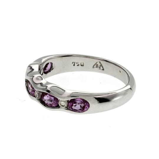 Non Branded 1.37 CT Pink Sapphire & 0.14 CT Diamonds 18K Gold Wedding Band Ring Image 4