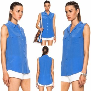 Equipment Silk Sleeveless Casual Button Down Shirt Klein Blue