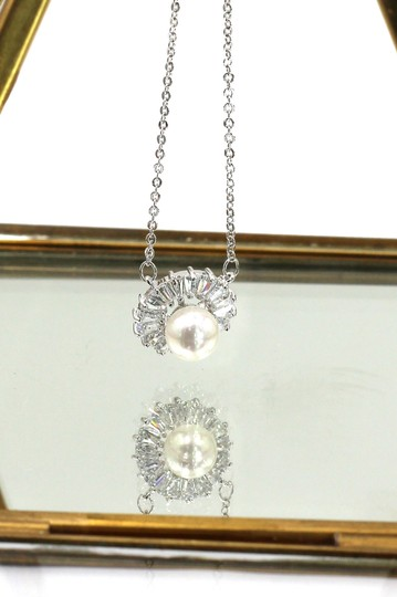 Ocean Fashion Lovely silver pearl crystal necklace Image 4