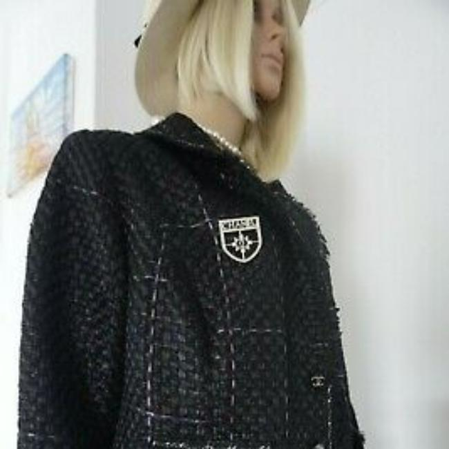 SEWN IN MY ATELIER JACKET ARTWORK FABRIC TWEED &BUTTONS & LINING CHANEL Black Jacket Image 9