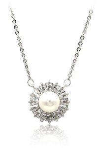 Ocean Fashion Sterling silver pearl crystal necklace
