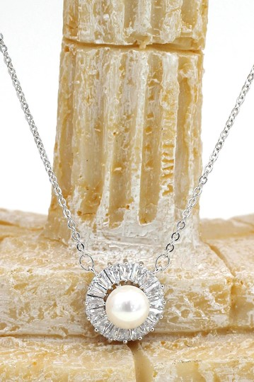 Ocean Fashion Sterling silver pearl crystal necklace Image 2