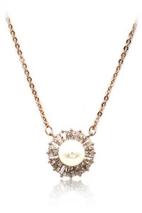 Ocean Fashion 925 rose gold pearl crystal necklace