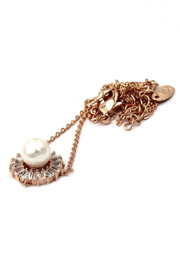 Ocean Fashion 925 rose gold pearl crystal necklace Image 1