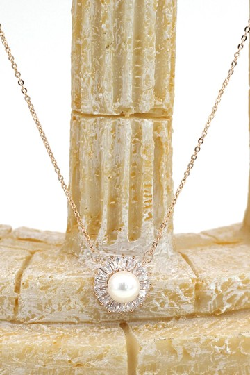 Ocean Fashion 925 rose gold pearl crystal necklace Image 3