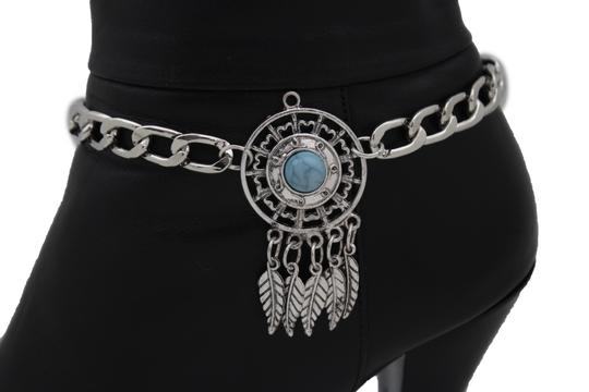 alwaystyle4you Women Western Boot Silver Metal Chain Western Shoe Charm Turquoise Image 1