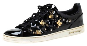 Louis Vuitton Patent Leather Leather Rubber Embellished Floral Black Athletic