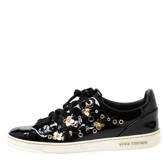 Louis Vuitton Patent Leather Leather Rubber Embellished Floral Black Athletic Image 1