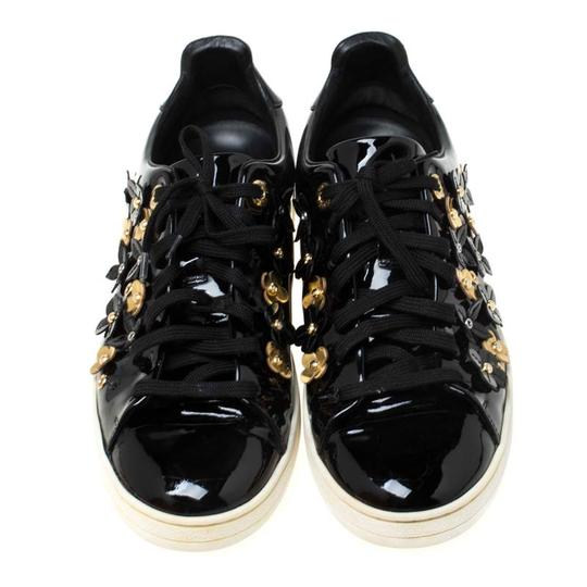 Louis Vuitton Patent Leather Leather Rubber Embellished Floral Black Athletic Image 2