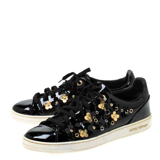 Louis Vuitton Patent Leather Leather Rubber Embellished Floral Black Athletic Image 3