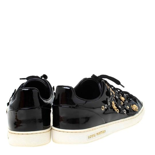 Louis Vuitton Patent Leather Leather Rubber Embellished Floral Black Athletic Image 4