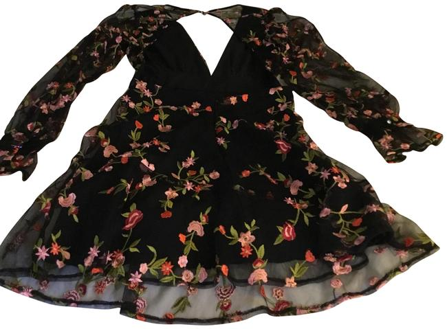 Preload https://img-static.tradesy.com/item/26331212/black-with-pink-flowers-backless-long-sleeve-short-night-out-dress-size-4-s-0-3-650-650.jpg