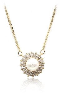 Ocean Fashion 925 gold pearl crystal necklace
