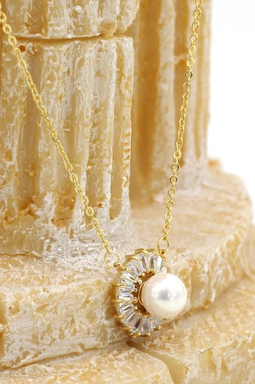 Ocean Fashion 925 gold pearl crystal necklace Image 3