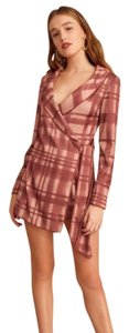 C/MEO Collective Check Wrap Playsuit Dress