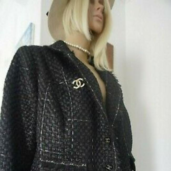 SEWN IN MY ATELIER JACKET ARTWORK NOTORIGINAL FABRIC TWEED & BUTTONS & LINING CHANEL Black Jacket Image 5