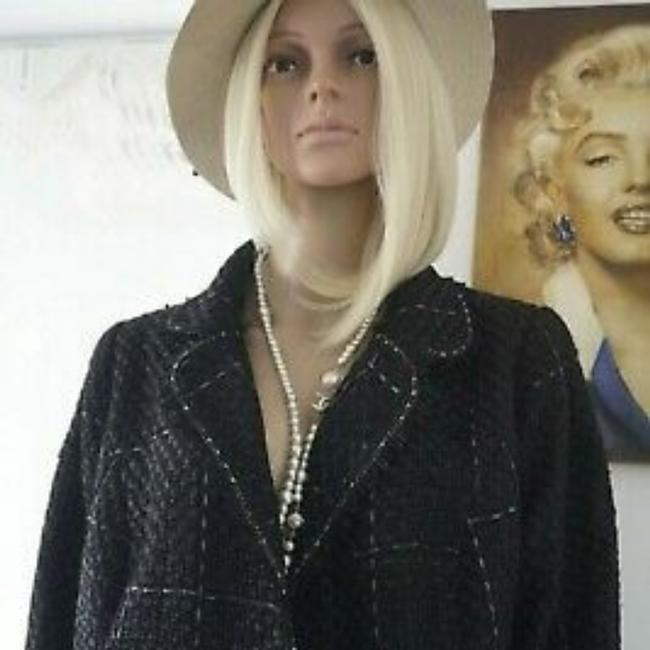 SEWN IN MY ATELIER JACKET ARTWORK NOTORIGINAL FABRIC TWEED & BUTTONS & LINING CHANEL Black Jacket Image 7