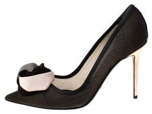 Dior Mesh Pointed Toe Leather Satin Detail Black Pumps