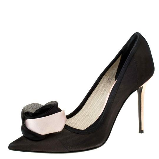 Dior Mesh Pointed Toe Leather Satin Detail Black Pumps Image 1