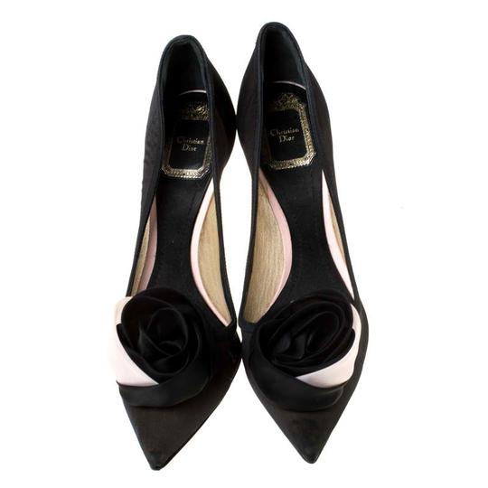 Dior Mesh Pointed Toe Leather Satin Detail Black Pumps Image 2