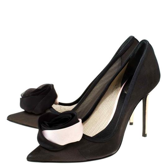Dior Mesh Pointed Toe Leather Satin Detail Black Pumps Image 3