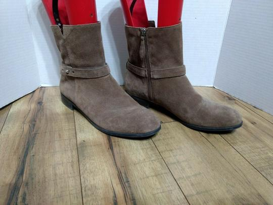 Franco Sarto Leather Suede Side Zip Casual Classic Brown Boots Image 1