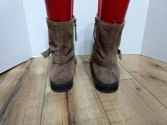 Franco Sarto Leather Suede Side Zip Casual Classic Brown Boots Image 3