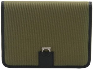 Salvatore Ferragamo Canvas and Leather Compact Flap Card Holder Wallet