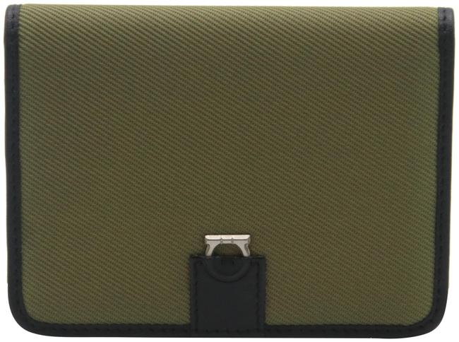 Item - Black Green Canvas and Leather Compact Flap Card Holder Wallet