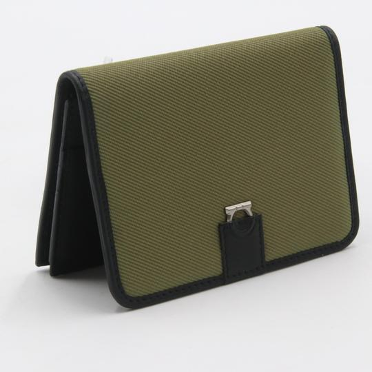 Salvatore Ferragamo Canvas and Leather Compact Flap Card Holder Wallet Image 1