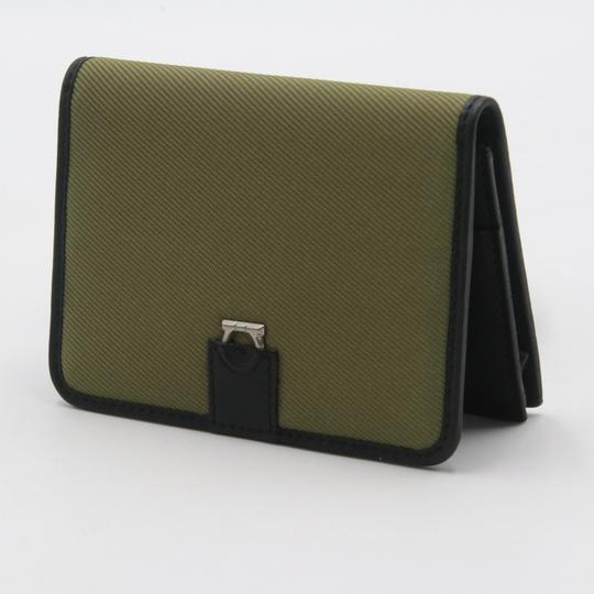 Salvatore Ferragamo Canvas and Leather Compact Flap Card Holder Wallet Image 2