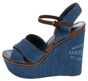 Louis Vuitton Crisscross Strap Ankle Strap Denim Leather Wedge Blue Sandals