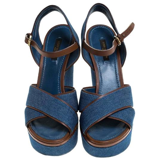 Louis Vuitton Crisscross Strap Ankle Strap Denim Leather Wedge Blue Sandals Image 2
