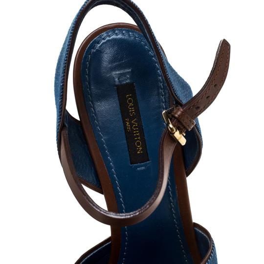 Louis Vuitton Crisscross Strap Ankle Strap Denim Leather Wedge Blue Sandals Image 6