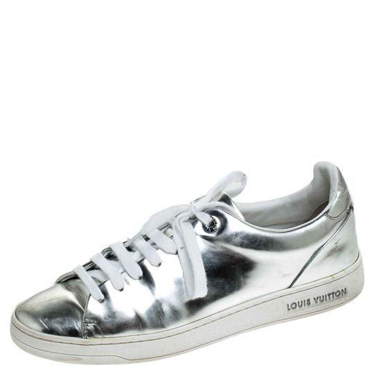 Louis Vuitton Metallic Leather Rubber Round Toe Silver Athletic Image 1